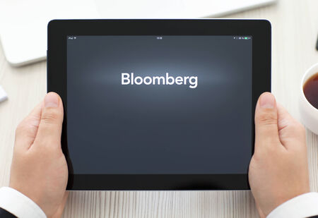 electronic transaction: Simferopol, Russia - September 13, 2014: Bloomberg the leading supplier of financial information for professional participants of the financial markets.