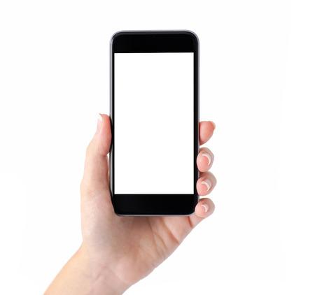 manos: Mano femenina aislada que sostiene un tel�fono con pantalla en blanco