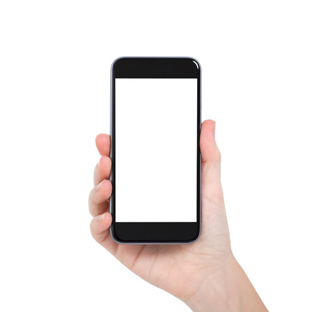 Isolated female hand holding a phone with white screen