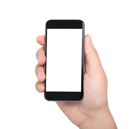 Geïsoleerde mannelijke hand houden van een telefoon met een wit scherm