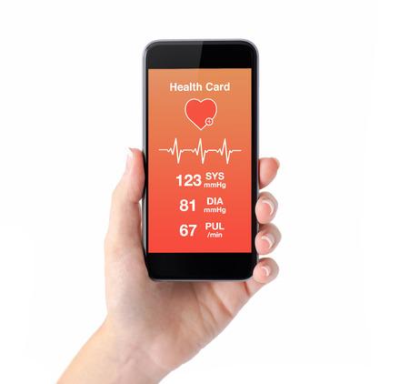 Geïsoleerde vrouwelijke hand houden van een telefoon met een app voor de gezondheid kaart controle Stockfoto - 38163085