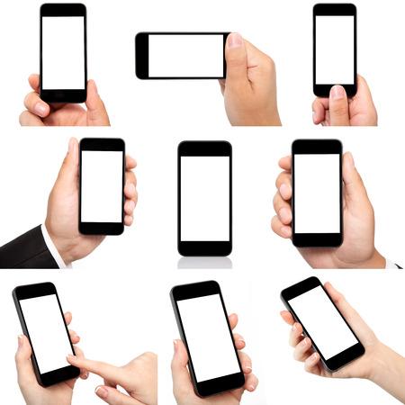 격리 된 화면으로 전화를 들고 남성과 여성의 손의 컬렉션 스톡 콘텐츠