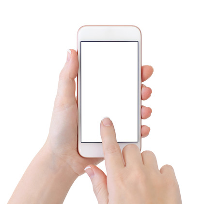 woman hands holding white phone with isolated screen