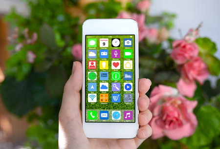 woman hand holding white phone with home screen icons apps background rose bushes