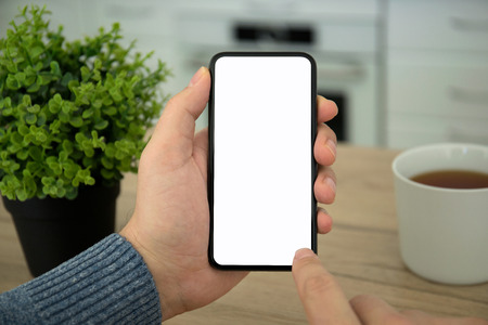 Male hands holding black touch phone with isolated screen in room