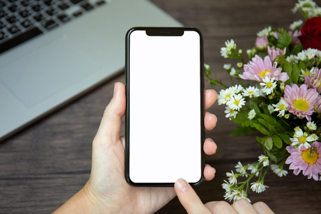 female hands holding phone with isolated screen on background laptop and flowers