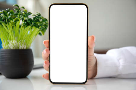 female hand holding golden phone with isolated screen on background room in house