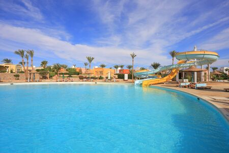 Outdoor aquapark slides at the resort in Egypt