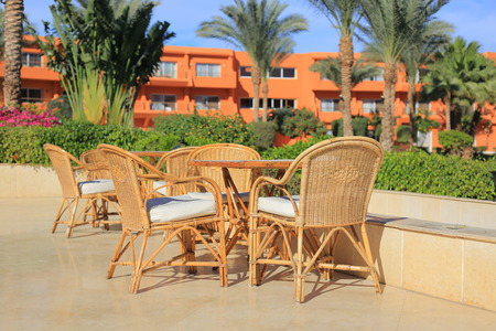 outdoor cafe: Outdoor cafe in the resort of Sharm el-Sheikh in Egypt Stock Photo