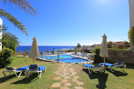 Outdoor swimming pool in Sharm El Sheikh Stock Photo