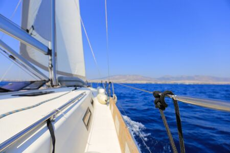 Sailing yacht in Greece at day