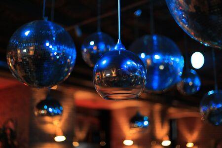 Disco balls in the interior night club