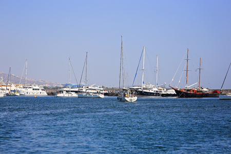 Sailing yachst docked in the marina in Greece