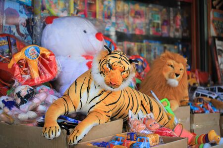 Funny plush tiger toy in the market