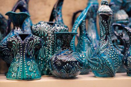 Turkish ornamental ceramic on a shelf in a store