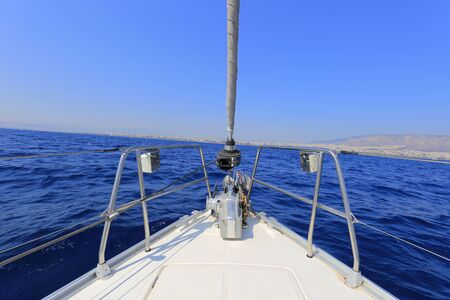 Bow view of sailing yacht
