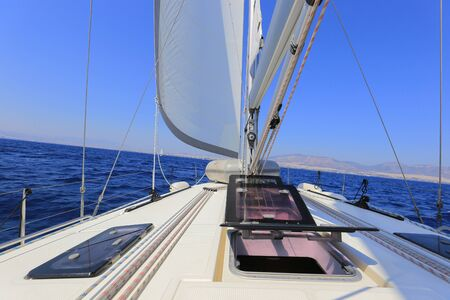 Front view of sailing yacht