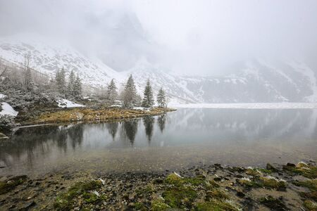 Winter lake and mountains view