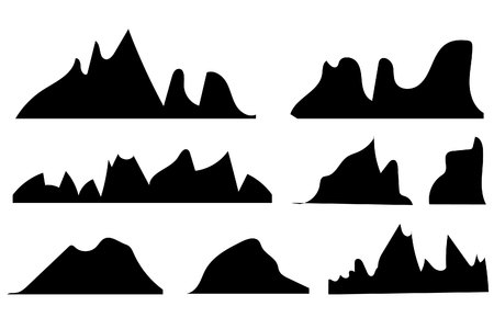 Mountains silhouettes on the white background.set of hand drawn landscape with silhouette mountain peaks.