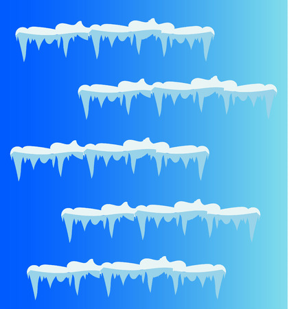 Set of snow icicles, snow cap isolated. Snowy elements on winter background. Vector template in cartoon style Stok Fotoğraf - 118392006