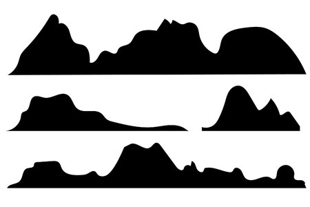 Mountains silhouettes on the white background.set of hand drawn landscape with silhouette mountain peaks. Ilustração