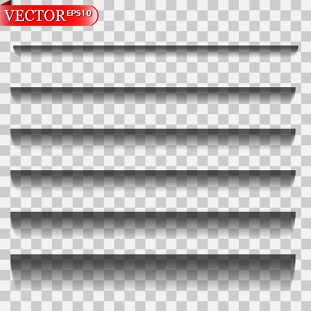 Vector shadows isolated. Transparent realistic paper shadow effect set. Page divider with transparent shadows isolated. Vector illustration for your design, template and site. Vector Illustration