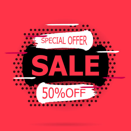 Super Sale and special offer. Vector illustration. Trendy neon geometric figures wallpaper in a modern material design style. Coloured banner