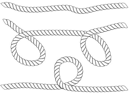 Ropes pattern brushes. Seamless nautical rope and chain stripes isolated on background. Braids and Plaits silhouette collection.