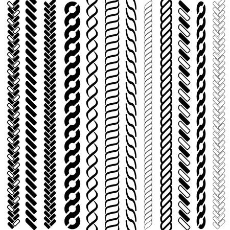Bürsten mit Seilmuster. Nahtlose Seeseil- und Kettenstreifen lokalisiert auf Hintergrund. Zöpfe und Zöpfe Silhouettenkollektion.