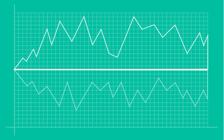 Abstract financial chart with uptrend line graph and numbers in stock market on gradient white color background. Trend lines, columns, market economy information background. Vector illustration Vetores