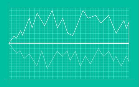 Grafico finanziario astratto con grafico a linee di tendenza rialzista e numeri nel mercato azionario su sfondo di colore bianco sfumato. Linee di tendenza, colonne, informazioni sull'economia di mercato. Illustrazione vettoriale Vettoriali