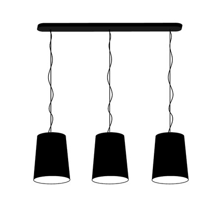 Lamp chandelier for three ceiling black on a white background. Vector illustration for your design.