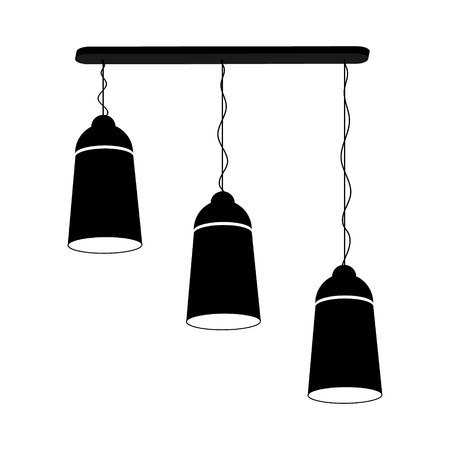 Lamp chandelier for three ceiling black on a white background. Vector illustration for your design. Illustration