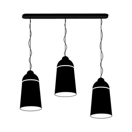 Lamp chandelier for three ceiling black on a white background. Vector illustration for your design. Vectores