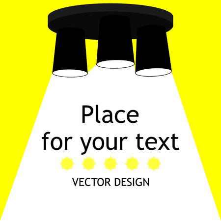 Modern interior.Vector Isolated Lamp.Lamp bulb Icon.Place for your text.