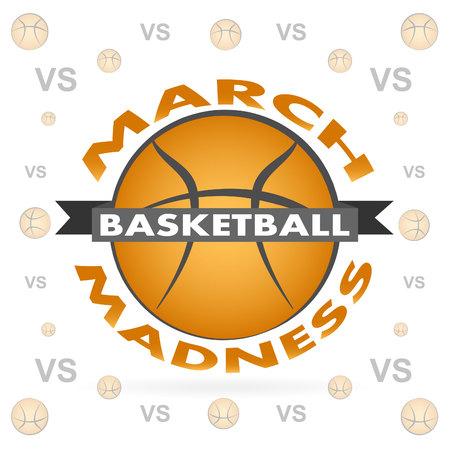 Conception de sport de basket-ball de folie de mars. Logo du tournoi de basket-ball, emblème, dessins avec ballon de basket-ball.