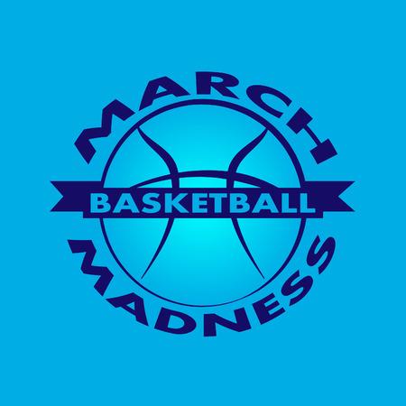 Diseño deportivo de baloncesto March Madness. Logotipo del torneo de baloncesto, emblema, diseños con pelota de baloncesto.