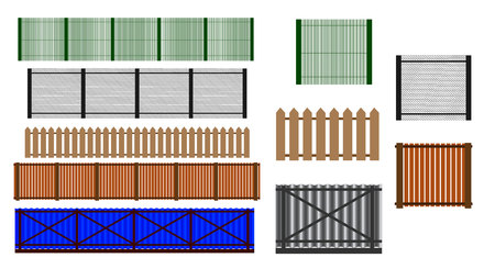 Fence set. Different designs of fences and walls illustration. Simple design isolated on white background. Vectores