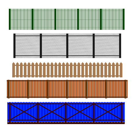 Fence set. Different designs of fences and walls illustration. Simple design isolated on white background.