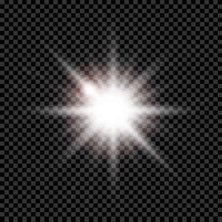 White glowing light explodes on a transparent background. Sparkling magical dust particles. Bright Star. Transparent shining sun, bright flash. Vector sparkles. To center a bright flash. Vectores