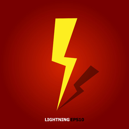 Lightning Bolt Minimal Simple flat symbol. Vector of Black Thunder Lighting Icons. Vectores