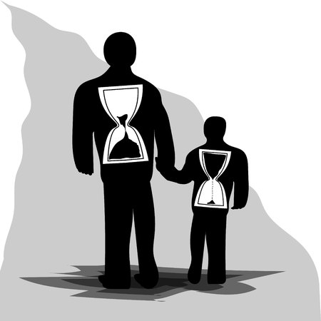 Old and young man with an hourglass inside. Start and end time. Youth and old age.
