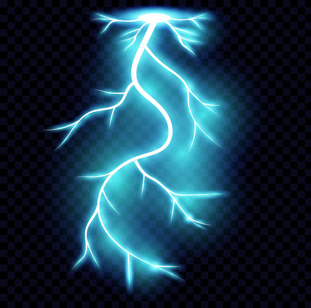 Realistic lightnings. Electricity thunder light storm flash thunderstorm in cloud. Nature power energy charge, thunder shock