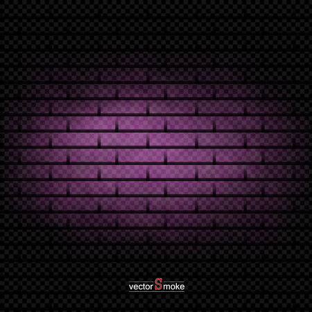 Brick wall background purple smoke. Vector realistic smoke on the transparent background.