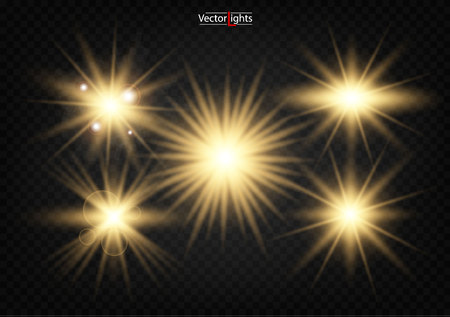 Set. Shining star, the sun particles and sparks with a highlight effect, color bokeh lights glitter and sequins. On a dark background transparent. Vector, EPS10