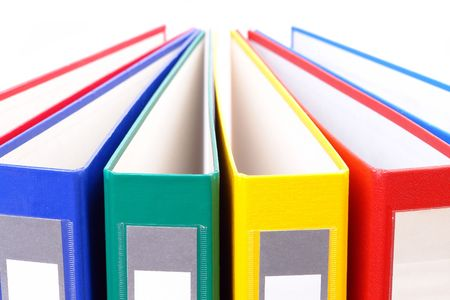 Closeup of colorful ring binders