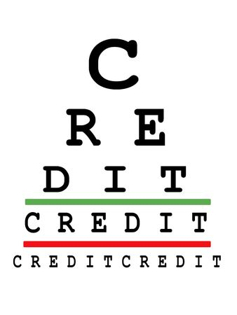 visual perception: Eye exam chart made up of credit words