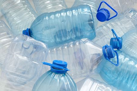 Heap of empty plastic drinking water bottles Stock Photo