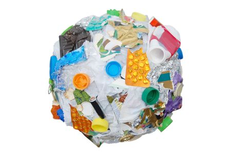 formed: Sphere formed from assorted domestic waste Stock Photo
