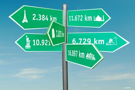 mileage: Roadsign indicating six world famous buildings with distances in kilometers over blue sky Stock Photo